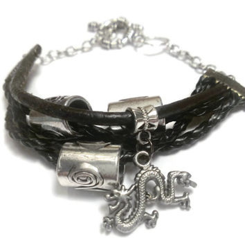 Silver Dragon leather charm bracelet braided real leather tribal beads tibetan stacked metal goth industrial style Charity