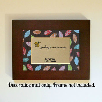 3x5 Photo Mat fits 5x7 Frame Bright Color Leaves