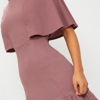 Mauve Cape Detail Frill Hem Bodycon Dress