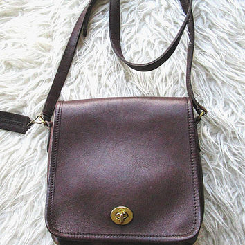 Vintage COACH 9076 Legacy Flap Brown LEATHER Crossbody Designer Companion Bag Purse
