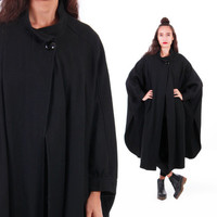 Black Wool Cape Coat Avant Garde Goth Batwing Witchy Long Heavy Warm 80s 90s Vintage Winter Outerwear Womens Size One Fits All
