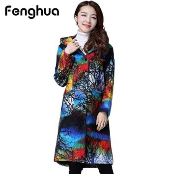 Fenghua Vintage Long Winter Coat Women Parka 2017 Casual Plus Size Thick Warm Down Jacket Female Hooded Novelty Print Parkas 4XL