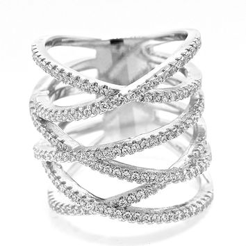 "White Gold Plated Multi Row Pave Cubic Zirconia Criss Cross ""X"" Statement Right Hand Ring"