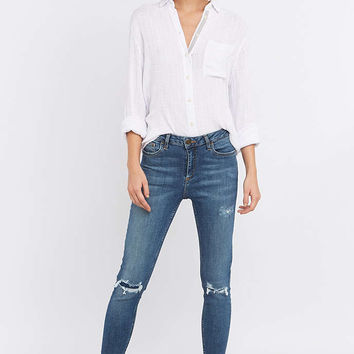 BDG Breeze Mid-Rise Patched Blue Cropped Skinny Jeans - Urban Outfitters