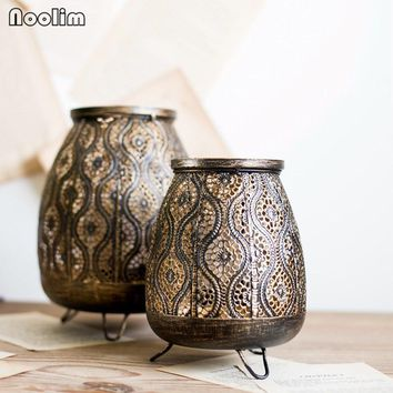 Vintage Black Gold Iron Hollow Carved Tealight Candle Holders