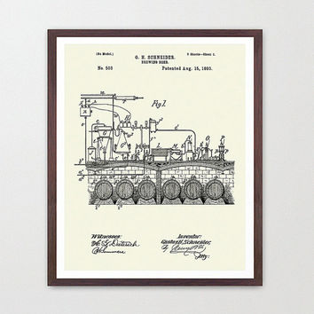 Beer Poster - Beer Patent - Beer Art - Beer Patent Print - Vintage Beer Bottle - Beer Design - Home Brew - Home Brewing Poster - Beer Decor