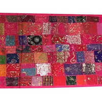 Mogul Decorative Tapestry Pink Patchwork Sequin Throw Bohemian Wall Hanging