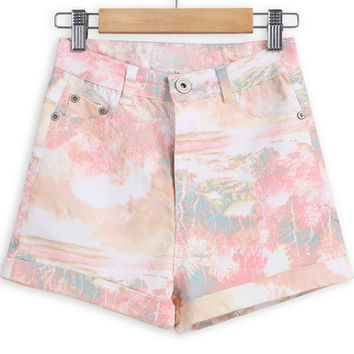 Orange Floral Print Denim Shorts