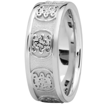 Wedding Band - Engraved Celtic Mens Wedding Band in Platinum