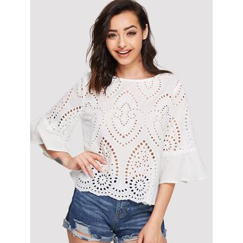 White Trumpet Sleeve Eyelet Embroidered Top