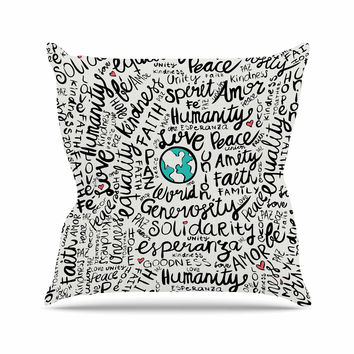 "Pom Graphic Design ""Positive World"" Teal Black Outdoor Throw Pillow"