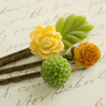 Flower Bobby Pins Floral Hair Accessories green yellow Rose Hair Woodland Romantic Country - Set of four (4)