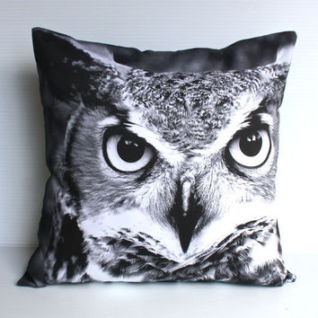 OWL cushion woodland decorative pillow eco by mybeardedpigeon