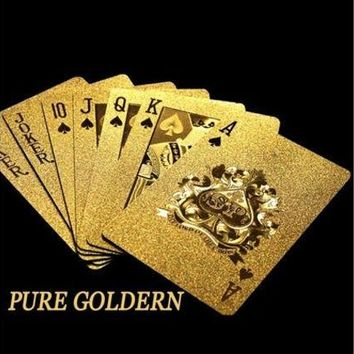 ICIK9 Pure Golden Card Gold Plat Playing Cards Full Per Deck International Standard (Color: Gold) [8270502721]