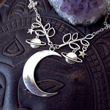 Moon and Star Necklace, Moon and Planets Necklace, Half Moon Pendant, Galaxy Necklace , Crescent Moon, Waning Moon