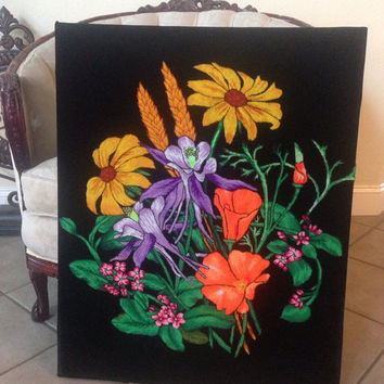 Vintage Wall Decor.  Needle punch on Black Velvet.  One of kind piece.  24x30 inches!