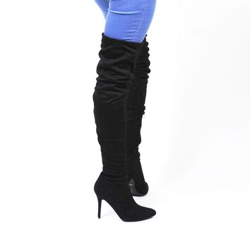 Black Thigh High Slouch Boots