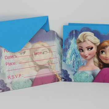 Frozen Snow Elsa Anna Kids Boy Girl Baby Happy Birthday Party Decoration Kits Supplies Favors Invitation Cards 6pcs/lot