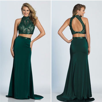 Delicate High Neck Satin Off Shoulder Mermaid Prom Dress Green Color Open Back Formal Gowns Sexy dress for graduation 2017