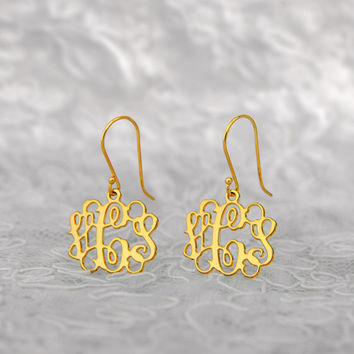 18k Yellow Gold-Plated on Silver Monogram Earrings