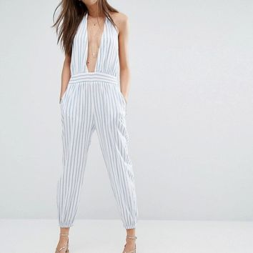 Faithfull Babuda Pinstripe Sleeveless Jumpsuit at asos.com