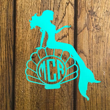 Mermaid Vinyl Decal, Outdoor Decal, Mermaid Monogram Decal, Mermaid Decal, Car Decal, Laptop Decal, Monogram Vinyl Decal, Outdoor Vinyl