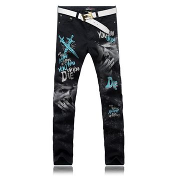 Stylish Fashion Jeans Men/Skinny Black Slim Fit Mens Print Jeans Pant/Designers Gothic Fancy Floral