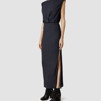 Womens Nile Vi Dress (Indigo) | ALLSAINTS.com