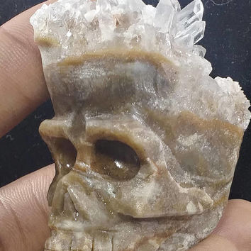 Skull carving/ gemstone carving/quartz skulls  /crystal skull/ human skull/sculpture/ quartz /quartz human skull/rocks and minerals
