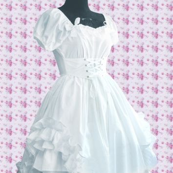 White Cotton Sweetheart Puff Sleeves Knee-length Ruffles Sweet Lolita Dress