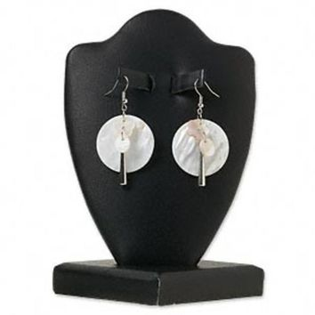 Mother of Pearl Large Coin Bead & Silver Metal Dangle Earrings