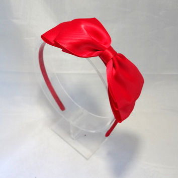 Big Red Bow Headband. Red Satin Bow. Teen Hair Accessories, Girls Hair Accessories, Large Red Bow, Adult Hair Accessories, Red Bow Headband