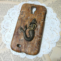 Mermaid wood pattern Galaxy S4 case, wood Samsung galaxy S IV cases, 4 Color choices (not real WOOD)