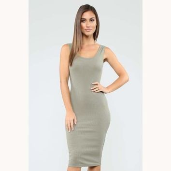 Take All Of Me Ribbed Midi Dress-Military Green