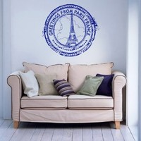 Wall Vinyl Decals Travel Trip Seal Stamp FRANCE Paris The Eiffel Tower Logo Emblem Sticker Art Home Modern Stylish Interior Decor for Any Room Housewares Murals Design Window Graphic Bedroom Living Room (2565)