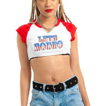Vintage Y2K Let's Rodeo Underboob Crop Top - XS