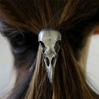 New 1 Pc Women Hot Fashion Punk Gothic Raven Skull Elastic Hair Rope Halloween Hair Accessories