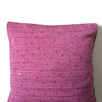 "16 x16"" Decorative Magenta Sequin Throw Pillows Cover Accent Sofa Pillows Indian Cotton Fabric  Couch Pillows Cushion Cover Home Décor"