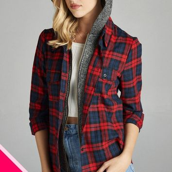 Red/Navy Plus Size Two Toned Hoodie/Plaid Shirt