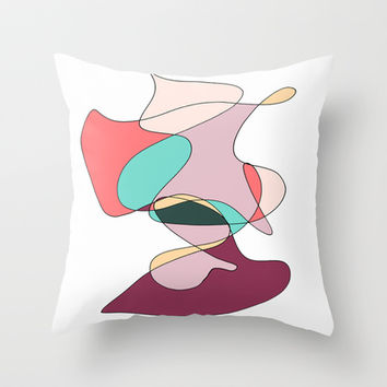 Abstract 1 (white) Throw Pillow by DuckyB (Brandi)