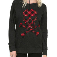 Grey Red Plaid Skull Girls Pullover Top
