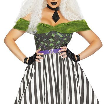Causing Trouble Black White Green Short Sleeve Off The Shoulder Vertical Stripe Pattern Flare A Line Midi Dress Halloween Costume