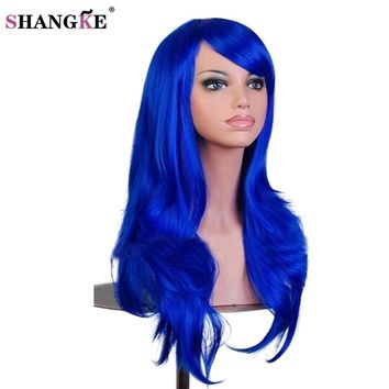 SHANGKE Long wavy Synthetic Wigs For Black Women Long Blue Cosplay Wigs For African Americans Heat Resistant Fake Hairpieces
