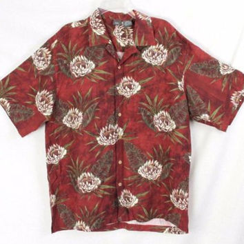Mens Folia L size Hawaiian Silk Shirt Brown Ivory Green Floral Vacation Party