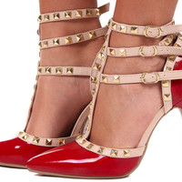Polished Red Pump with Tan Studded Straps