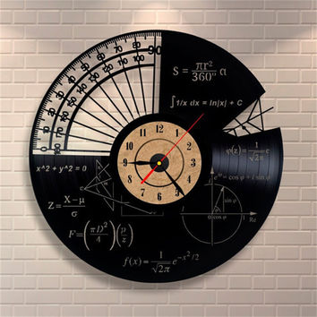 Wall Mounted Vinyl Records Wall Clock Math Themes Quartz Decorative Wall Clocks for Home Decoration