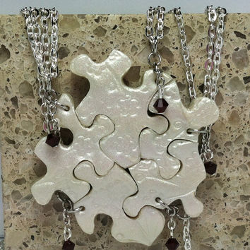 Puzzle Piece Necklace Set of 5 Bridesmaid or Best Friend Pendants Polymer Clay Cherry Blossom Set Made To Order