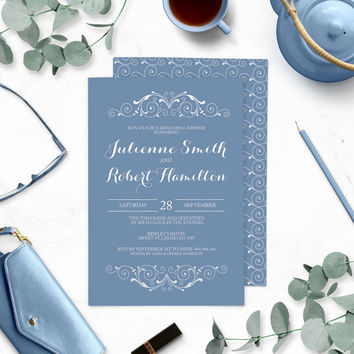 Dusty Blue Rehearsal Dinner Invitations-Blue Winter Wedding Rehearsal Dinner-Vintage Swirl-Chic Retro-Victorian Swirl-Modern Elegant