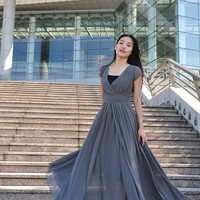 Flowy Chiffon Bridesmaid Maxi Dress Gray Dress Irregular Summer Long Wedding Dress (127), #63