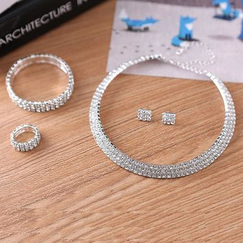 Tdqueen Jewelry Classic Women 2017 Real Limited Jewelry Set Flexible Bridal 3 Strand Rhinestone Choker Necklace & Earrings